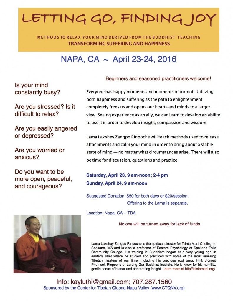 flyer.April 23&24, 2016 Napa